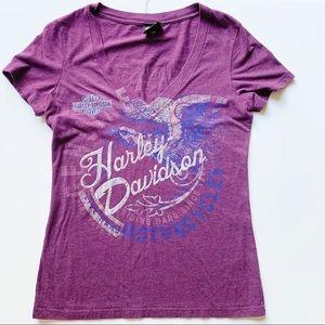 Harley Davidson Purple V Neck Graphic Tee